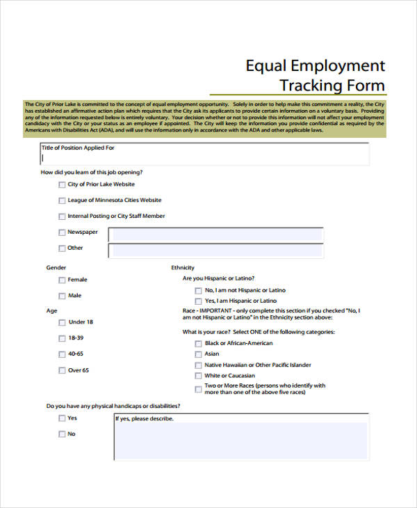 equal employee tracking form