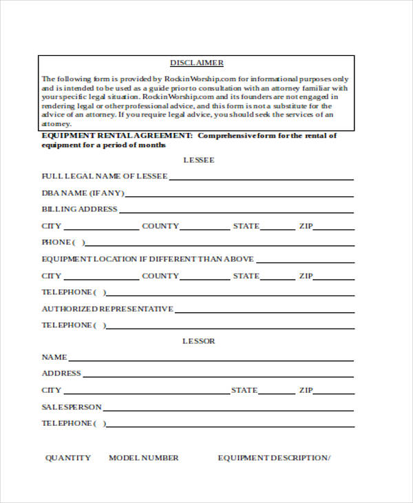equipment purchase rental agreement form