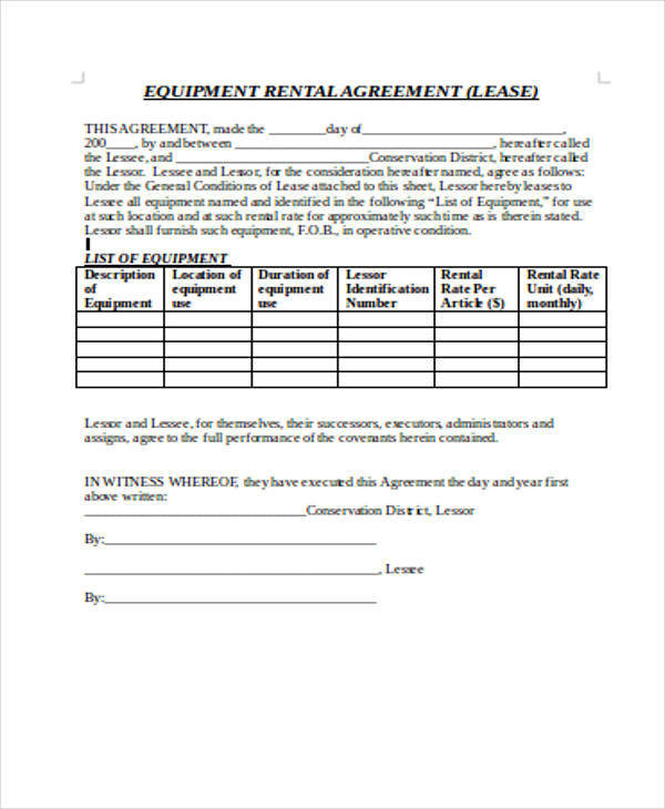equipment rental agreement form in doc1