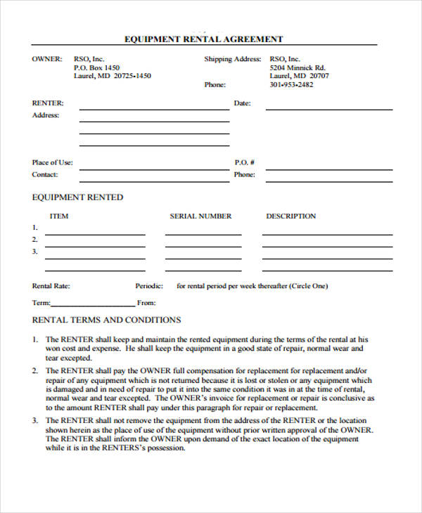 equipment rental contract agreement form