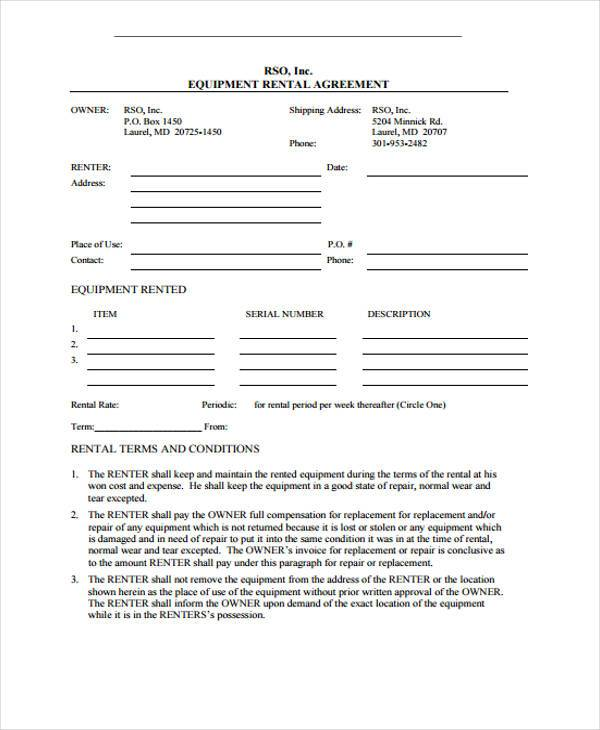 equipment rental contract form