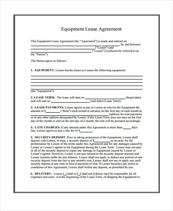 Equipment Rental Lease Agreement Form