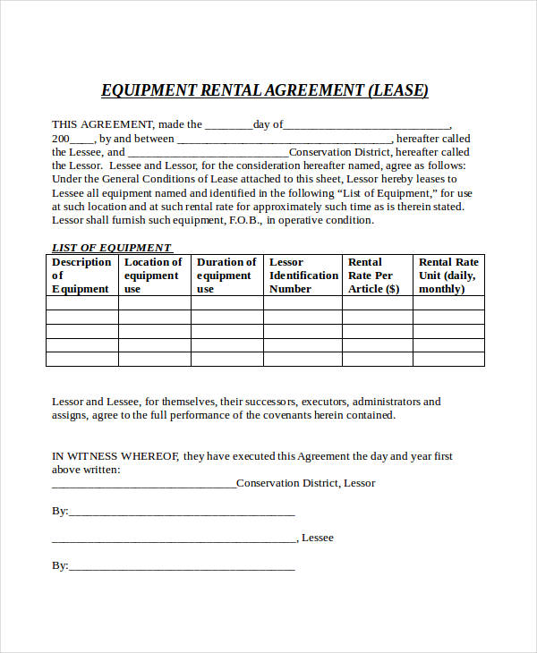 equipment rental lease agreement form1