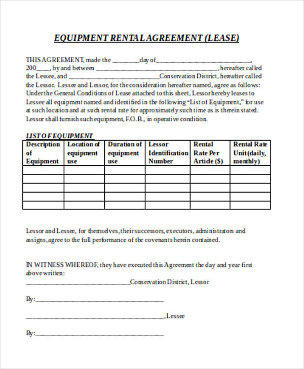 equipment rental purchase agreement form