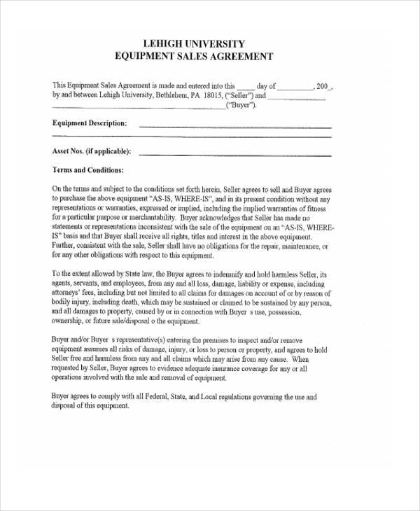 equipment sales agreement form