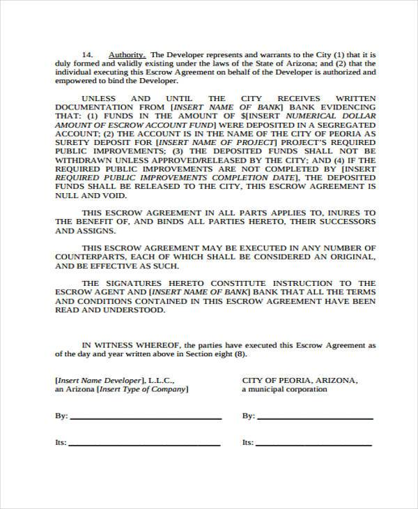 10 Escrow Agreement Form Samples Free Sample Example Format Download
