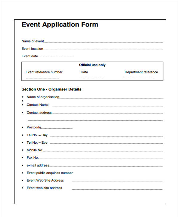 event application form in pdf