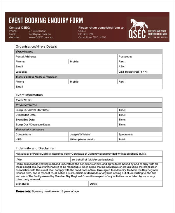 event booking enquiry form