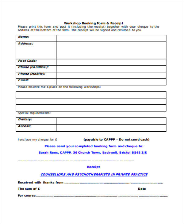event booking receipt form