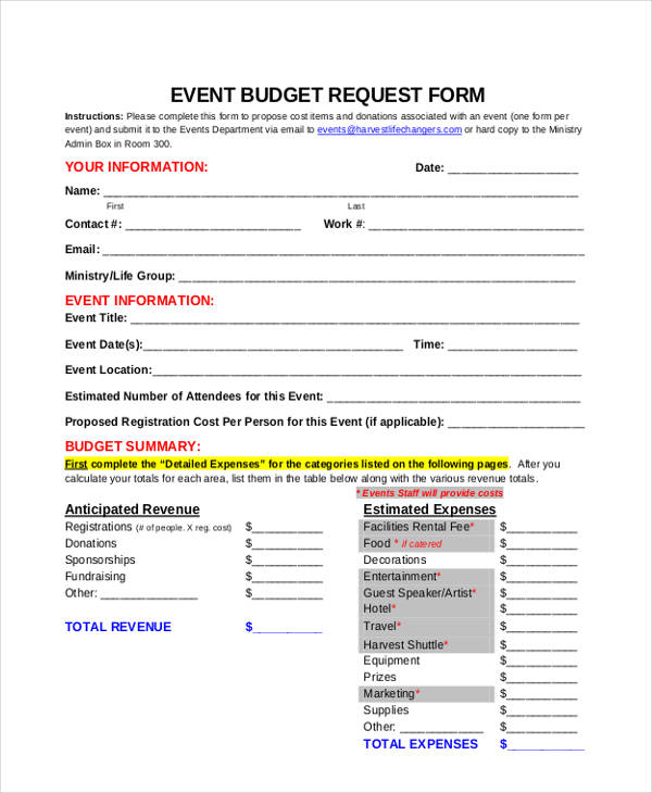 event budget request form