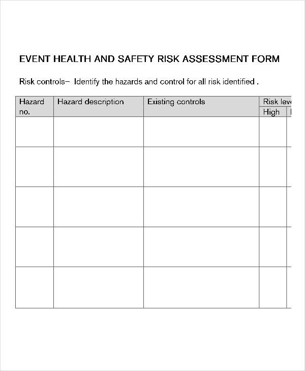 event health and safety risk assessment form