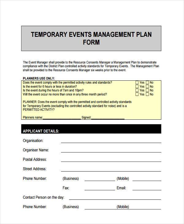 event management planning form