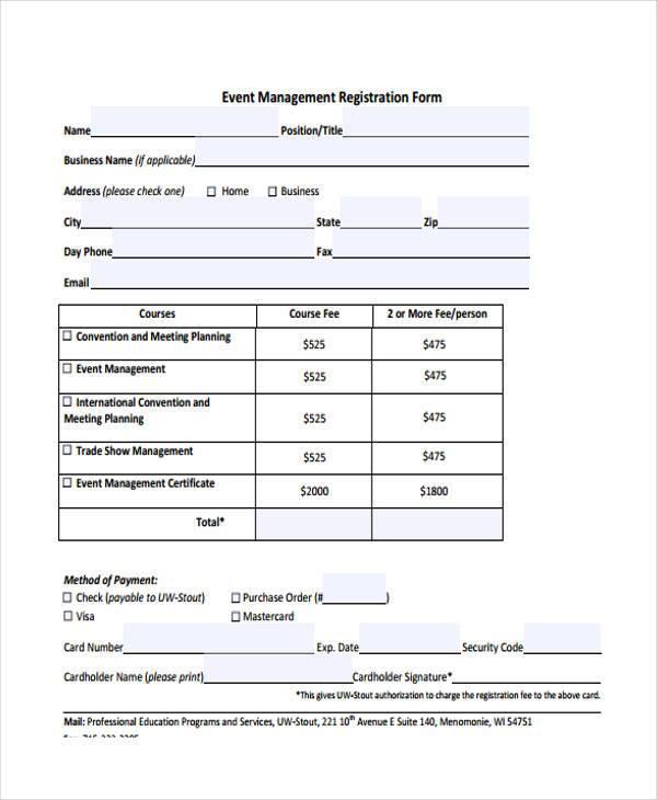 event management registration form