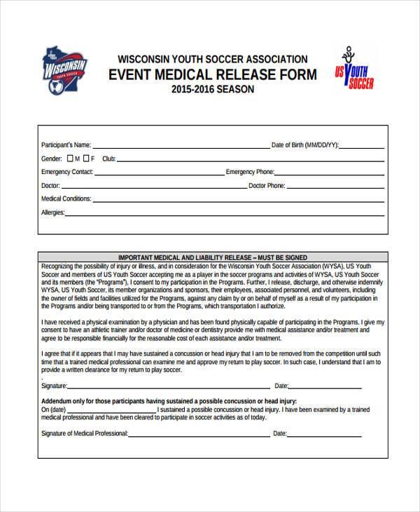 event medical release form1
