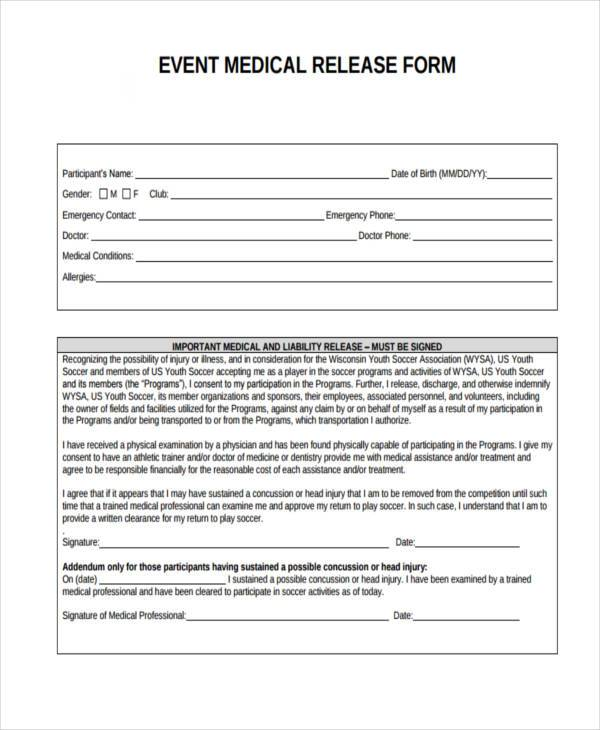 event medical release form2