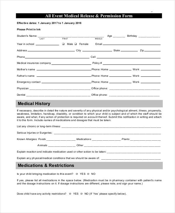 event medical release permission form