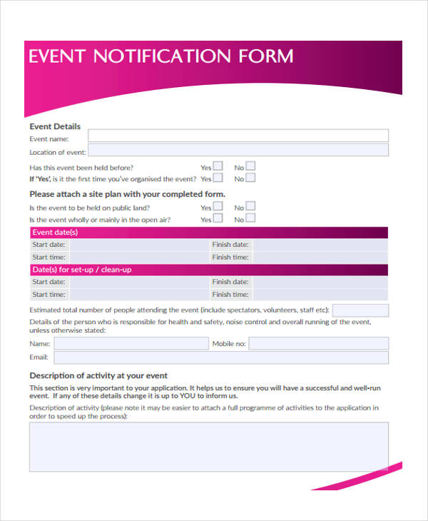event notification form in pdf