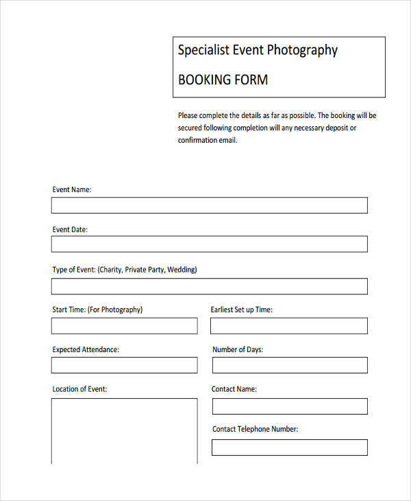 event photography booking form