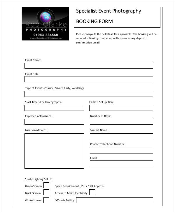 event photography booking form1