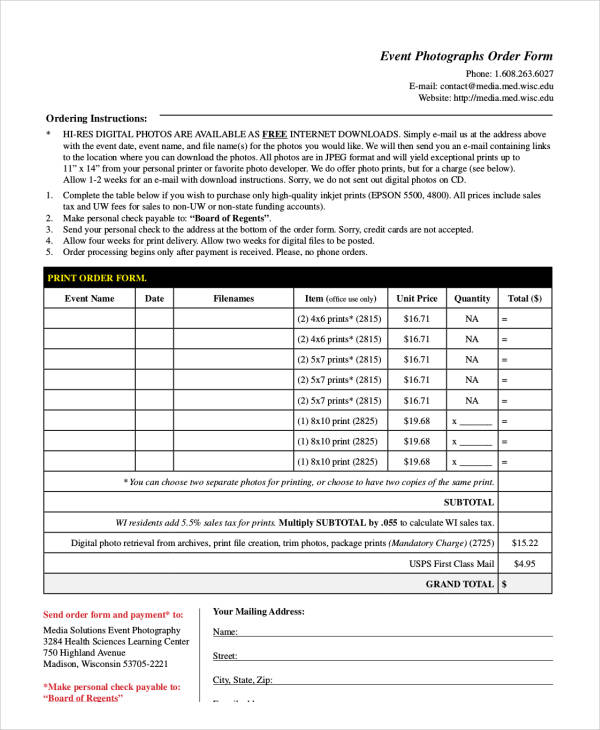 event photography order form1