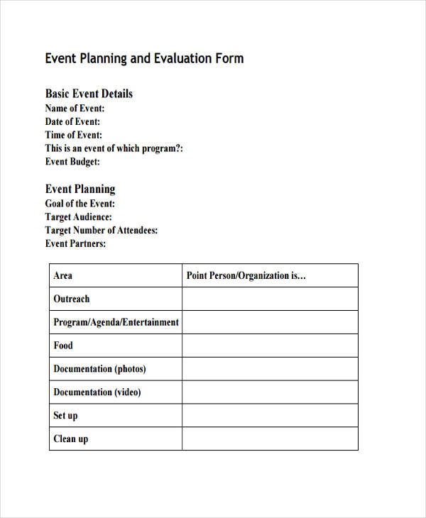 Event-Planning-Evaluation-Form Sample Event Vendor Application Form on reunion template,