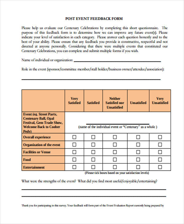 event questionnaire feedback form1
