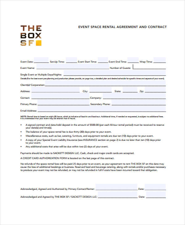 event rental agreement form1