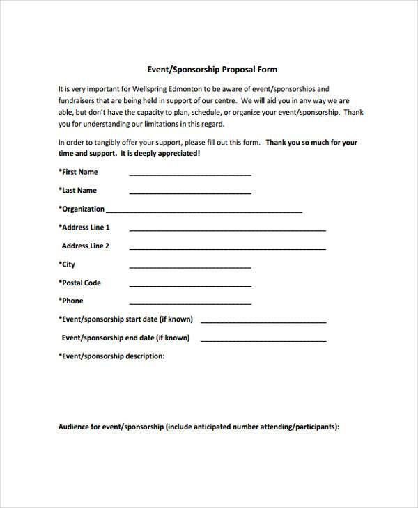 event sponsorship proposal form