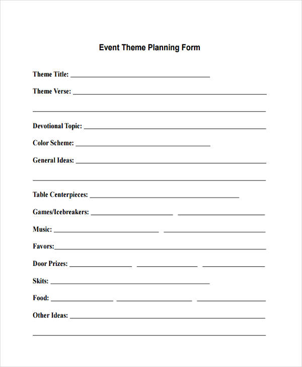 event theme planning form