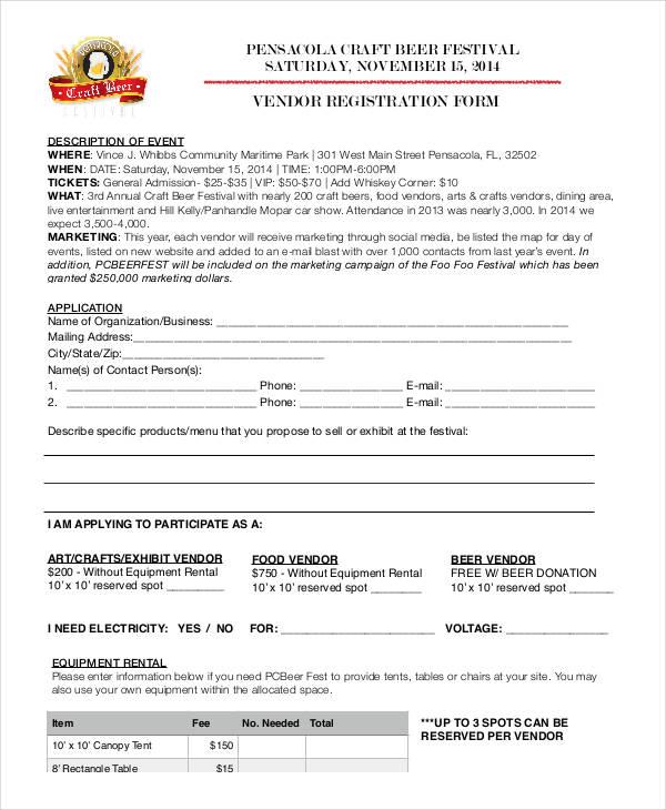 event vendor registration form1