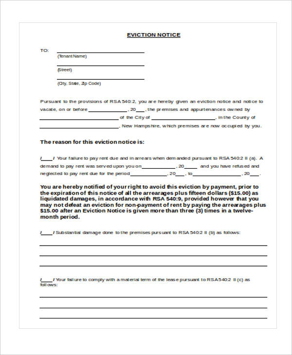 33 sample notice forms eviction notice to tenant thecheapjerseys Image collections