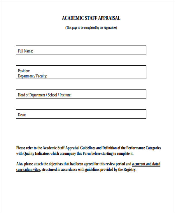 example academic staff appraisal form