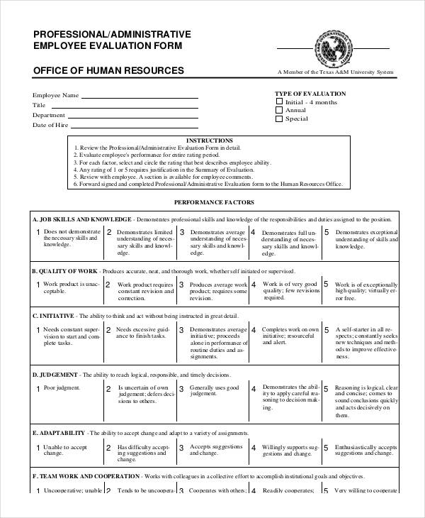 example administrative employee evaluation form