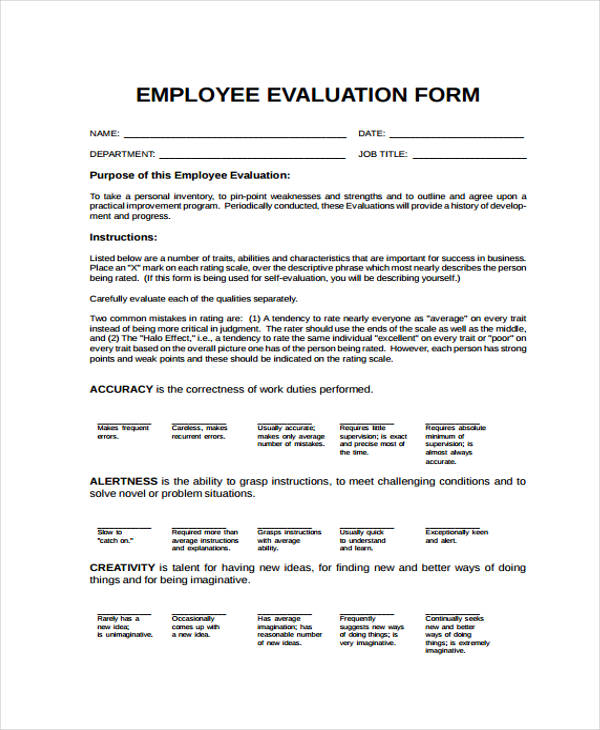 example general employee evaluation form
