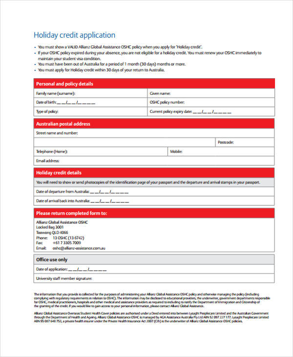 example holiday credit application form
