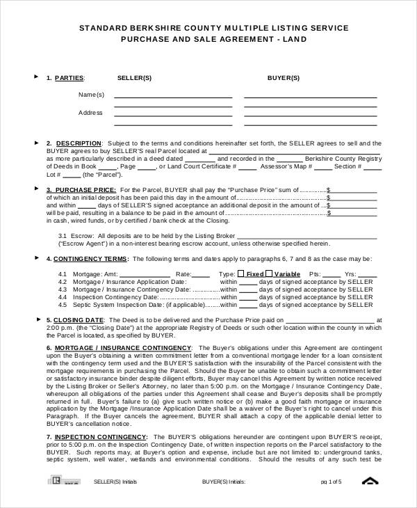 Land Purchase Agreement Form Samples  Free Sample Example