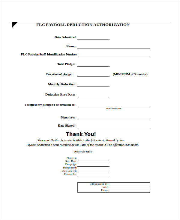 example payroll deduction form