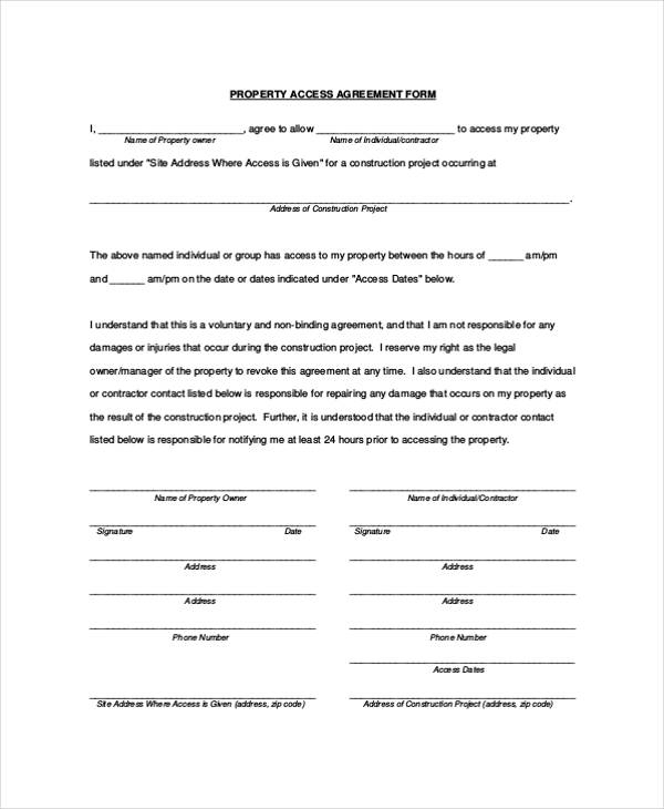 example property access agreement form