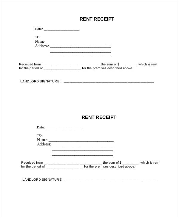 example rent receipt form