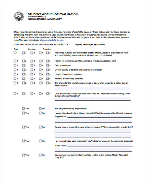 Student Evaluation Form In Pdf
