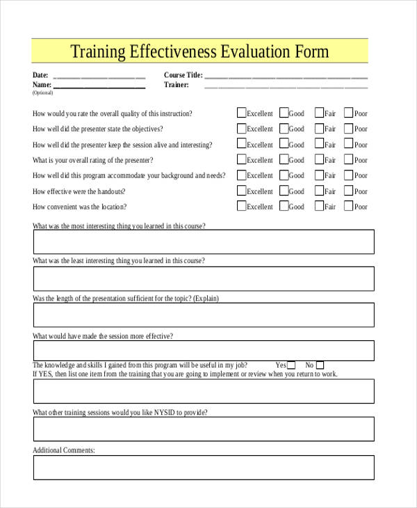 example training effectiveness evaluation form