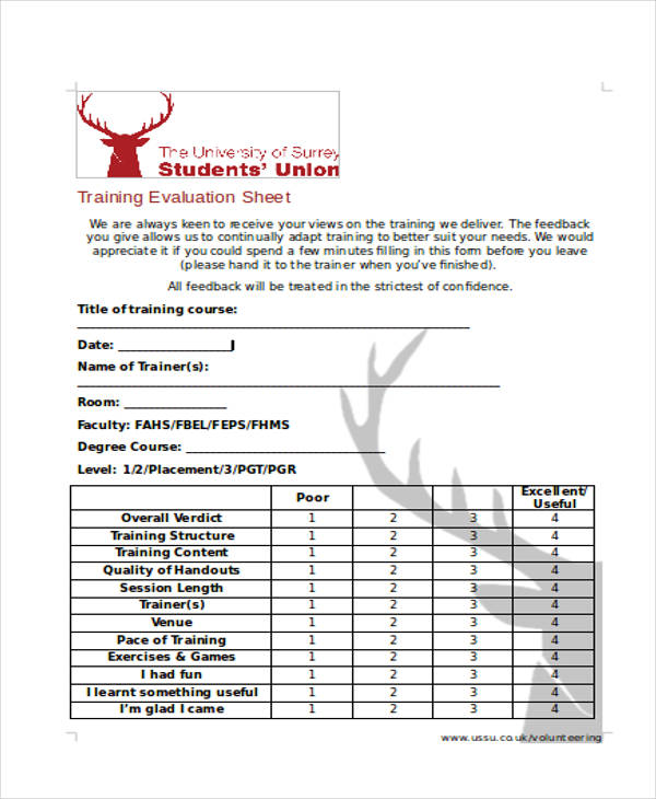 example training student evaluation form