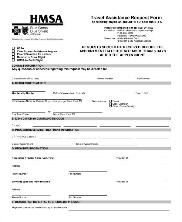 example travel assistance request form