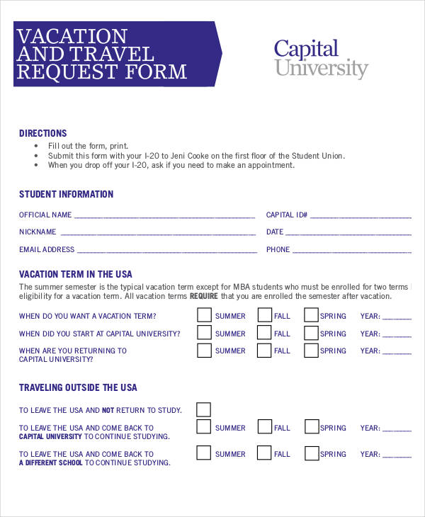 Travel Request Forms In Pdf