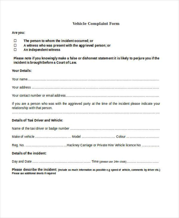 example vehicle complaint form