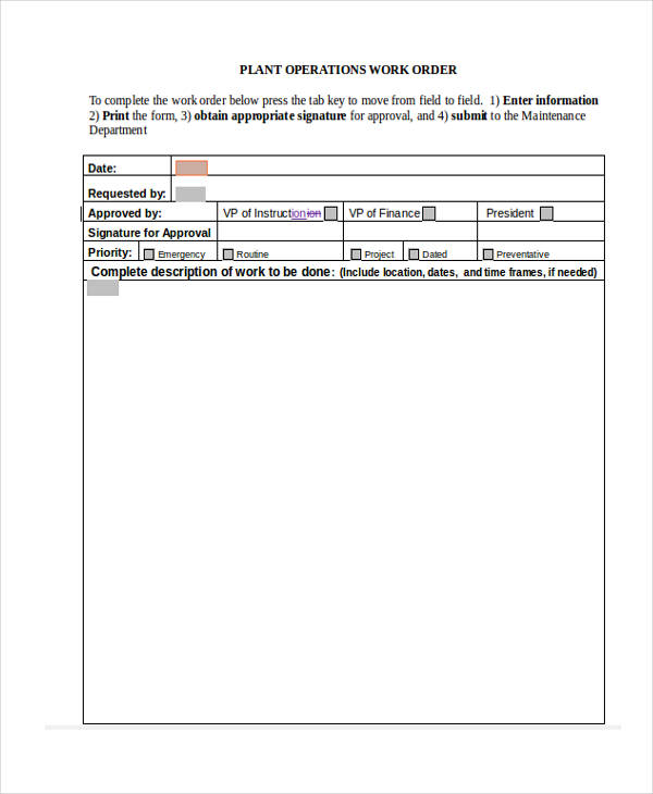 example work order requisition form
