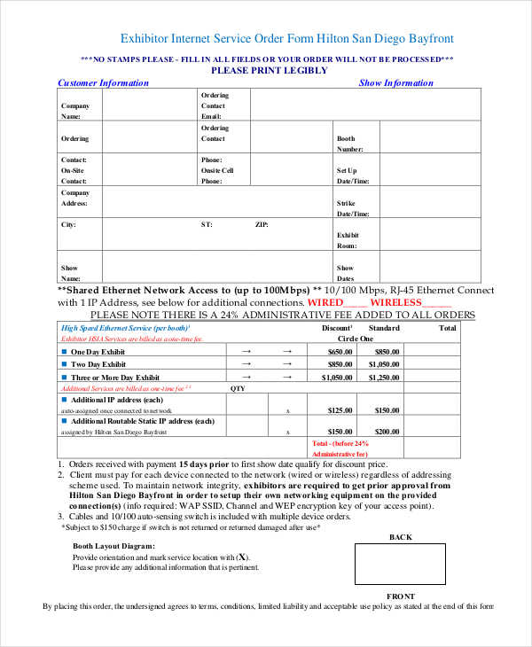 exhibitor internet service order form