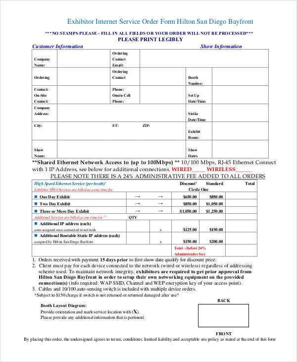 exhibitor internet service order form