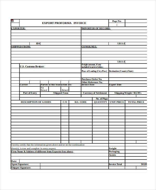 export proforma invoice form