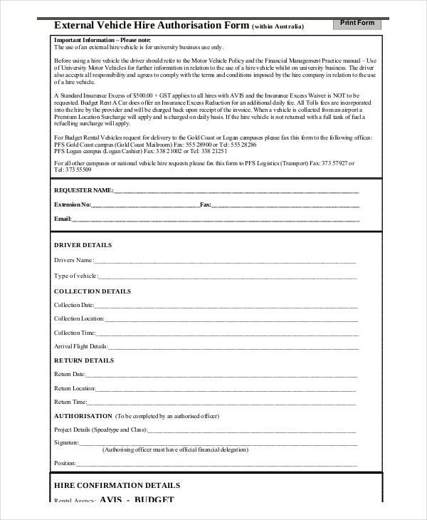 external vehicle hire authorisation form